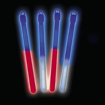 "7"" PATRIOTIC BICOLOR LIGHT STICK (1 DOZEN) - BULK"