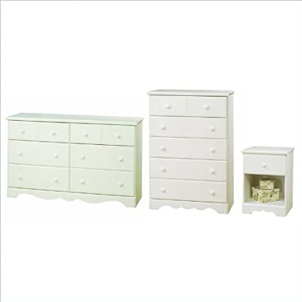 South Shore Summer Breeze Dresser, Chest and Nightstand Set in White Wash