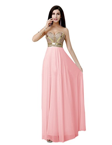 Diyouth 2015 Luxury Long Sweetheart Gold Belt Chiffon Prom Dress Pink Size 26W