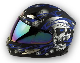 VIPER RS-44 SKULL MOTORCYCLE HELMET Blue/Black (With Tinted Visor) M (57-58 Cm)