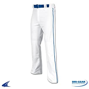 Champro Pro Plus Open Bottom Baseball Pants with Piping - White with Royal Piping, XL
