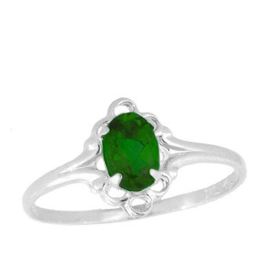 Teens Jewelry - Sterling Silver May Birthstone Ring (size 4)