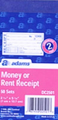 Adams Money OR Rent Receipt 13 mm X 70 mm Carbonless (5-Pack)