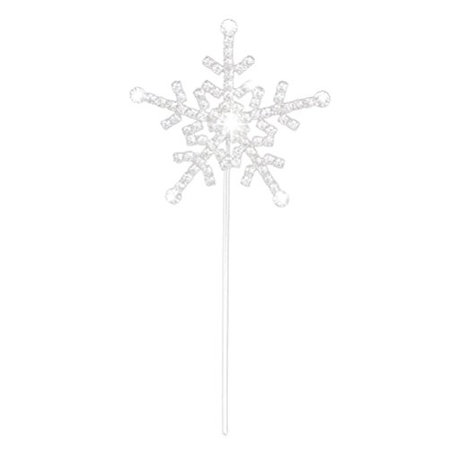 NUOLUX Cake Topper with Rhinestone Snowflake Style for Wedding Anniversary Decoration (Silver)
