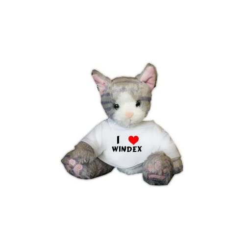 Plush Stuffed Cat (Kit Kat) toy with I Love Windex T-shirt (first name