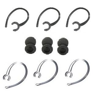 "12 Pc Ear Hooks / Foam Buds Repair Set Compatible W/ Samsung Hm1000 Hm 1000 (3-Black, 3-Translucent Ear Hooks & 6 ""Foam"" Ear Buds) By Gadgetbrat®"