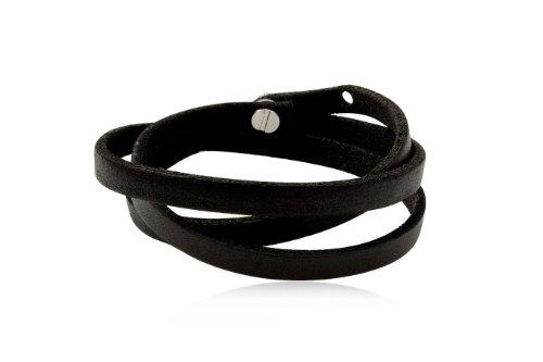 Fashion Black Leather Wrap Cuff Rasta Bracelet Bangle Men's Jewelry