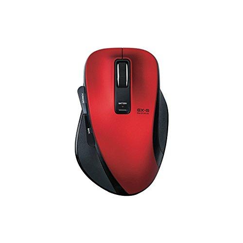 ELECOM ワイヤレスBlueLEDマウス M-XG1 2.4GHz 5ボタン 握りの極み Mサイズ レッド M-XG1DBRD