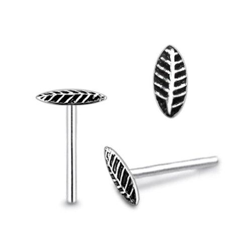 Piercingworld Plain Single Leaf 22Gx5/16 (0.6x8mm) 925 Sterling Silver Straight Nose Pin Piercing Jewelry