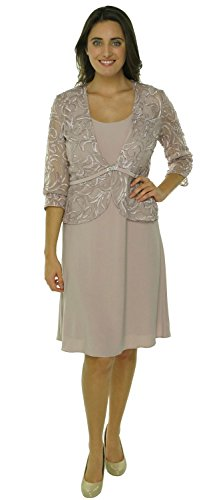 Patra Sleeveless Embroidered Gown Dress Champagne (8