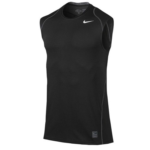 Nike Mens Pro Cool Fitted Sleeveless Shirt (Medium, Black)