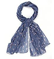 Indigo Collection Lightweight Ditsy Flamingo Print Scarf