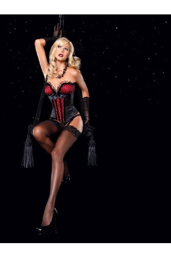 Sexy Adult Womens Lingerie The Jesse Corset,Satin Silhouette W/Tulling, Deep-V Bustline Large Black/Red Leg Avenue By Fenvy