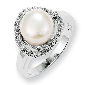 Genuine IceCarats Designer Jewelry Gift Sterling Silver Cz Freshwater Cultured Pearl Ring Size 6.00