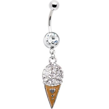 Crystalline Jeweled Ice Cream Cone Charm Belly Ring
