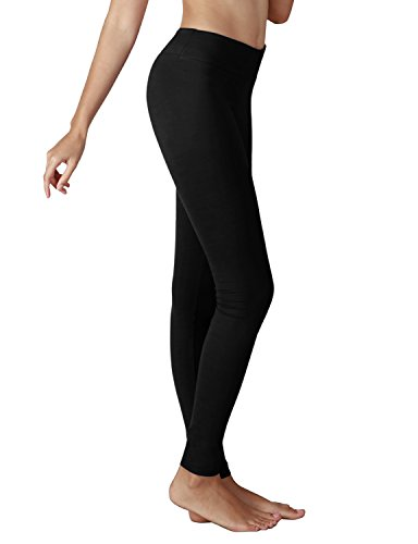 Yoga Reflex Women's Active Yoga Running Pants Workout Leggings - Hidden Pocket , Black , Large