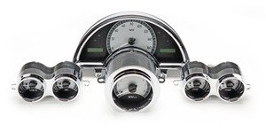 1958-62 Chevy Corvette VHX System, Satin Alloy Style Face, Red Display