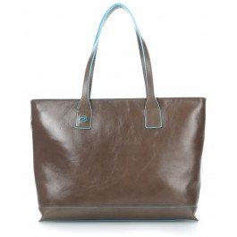 Piquadro BD3336B2/TO2 Blue Square Shopping Bag, Tortora