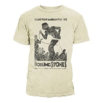 Rolling Stones - Vintage Tour Poster 30/1 Enzyme Washed Mens T-Shirt In Natural, Size: Small, Color: Natural
