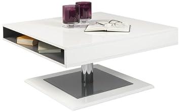 """HL Design 01-01-100.1 Couchtisch """"Pia"""", 800 x 800 x 400 cm, hochglanz weiß lackiert Materialstärke 16 mm, Glas grau Stärke 4 mm,"""