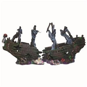 Aquarium Shipwreck The Black pearl, Large Fish Tank Sunken Boat