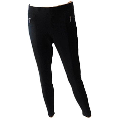 Matty M Women's Leggings Zipper Pockets Black Large