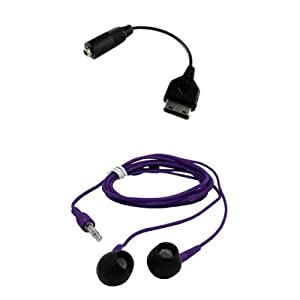 Premium Samsung M300 to 3.5mm Audio Adapter and 3.5mm Purple Stereo Headphones Combo for Samsung A867 Eternity, T919 Behold, i910 Omnia, i907 Epix, A767, A137, T109, U650 Sway, A837 Rugby, M310, A237, T339, T229, M200, I325 Ace, I617 Blackjack II, A747 SLM, A127, T429, M520, M510, R500 HUE, T729 Blast, T539 Beat, A517, A737, T439, T739, R300, R200, A827 Access