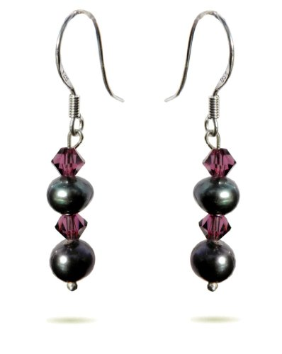Handmade 925 Sterling Silver Swarovski Tahitian Pearl Drop Earrings FREE Delivery in UK Gift Wrap