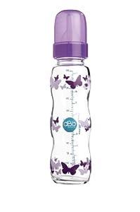 dBb Remond - 107022 - Biberon Verre - Papillons - Régul'air - Varitétine Silicone - Système Rond - Violet Translucide - 290 ml