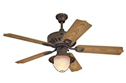 Westinghouse 7877820 Lafayette Single-Light 52-Inch Five-Blade Indoor/Outdoor Ceiling Fan, Weathered Iron with Yellow Alabaster Glass