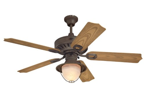 Westinghouse 7877820 Lafayette Single-Light 52-Inch Five-Blade Indoor/Outdoor Ceiling Fan, Weathered Iron with Yellow Alabaster Glass (Weathered Ceiling Fan Blades compare prices)