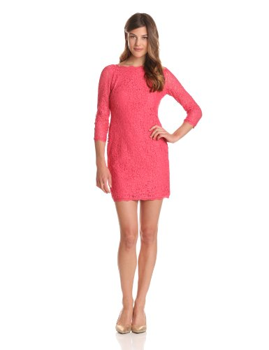 Adrianna Papell Women's Long Sleeve Lace Dress, Coral, 4