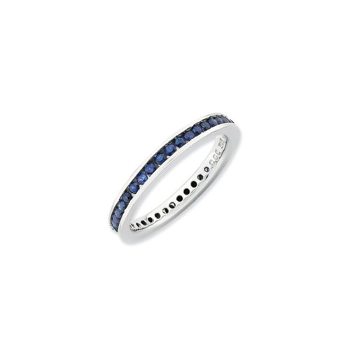 Sterling Silver Stackable Created Sapphire Channel Eternity Band Sz 6