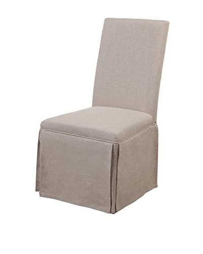 Bassett Mirror Company Skirted Parsons Chair, Natural Linen