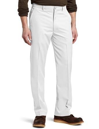 Haggar Men's C18 Slim Fit Flat Front Sport Pant,White,34x30