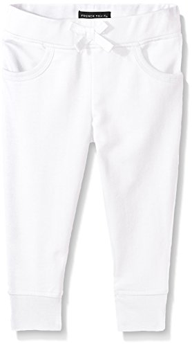 French Toast Toddler Girls French Terry Jogger, White, 3T