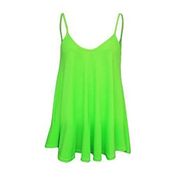 NEW WOMENS STRAP NEON PLAIN CAMISOLE SWING TOP T SHIRT #1: 31dMQooTvVL SX342