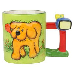 Dog Mug With Barking Sound, Cup Barks When Lifted, Ceramic, 3.75-Inch