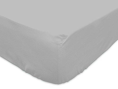 Lenzuolo con angoli in cotone 180 x 200 cm grigio