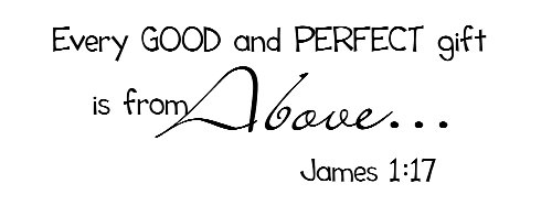 Every Good And Perfect Gift Is From Above. James 1:17 Vinyl Wall Art Inspirational Quotes And Saying Home Decor Decal Sticker front-483779