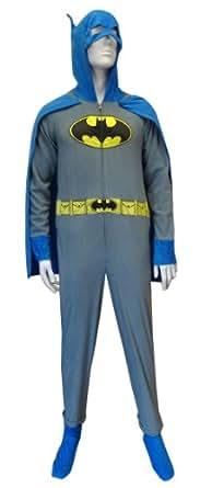 Amazon Com Batman Grey Union Suit Pajamas W Cape And Cowl