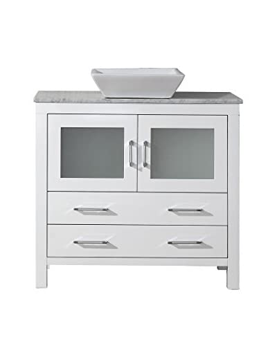 "Virtu USA Dior 30"" Single Bath Vanity Cabinet, White/White Marble"