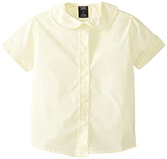 (5951) Genuine School Uniforms Girls Cotton Peter Pan Collared Button Down Short Sleeve Shirt (Sizes 4-16) in Yellow Size: 4
