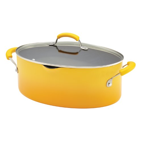 Rachael Ray Porcelain Enamel II Nonstick 8-Quart Covered Oval Pasta Pot with Pour Spout, Yellow Gradient