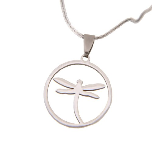 Unique Dragonfly Jewelry Shiny Stainless Steel Chain Necklace Pendant for Women 20″