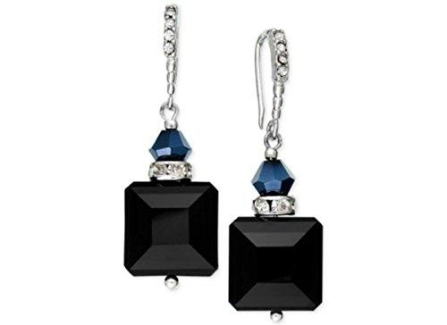 C.A.K.E. Silver-Tone Black Square Drop Earrings Jewelry