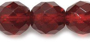 Preciosa Czech Fire 10mm Polished Glass Bead, Faceted Round, Transparent Garnet, 60-Pack