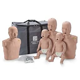 Prestan Family Pack of CPR Manikins (2 Adults, 1 Child, & 2 Infants) with Compression Rate Monitors, Medium Skin Tone