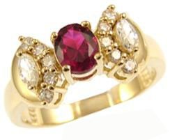 14k Yellow Gold, Elegant Classic Design Ring with Lab Created Oval Shape Red Colored Stone