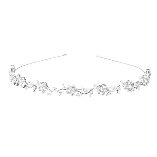 Hobees Women's Wedding Crystal Bridal Flower & Leaves Crown Headband Tiara Headdress